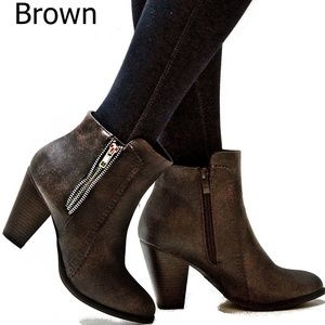 New Brown Western Ankle Booties Chunky Heel Boots